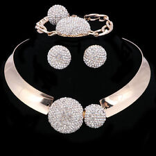 Women Gold/Plated Crystal Necklace Bangle Earring Ring Party Jewelry Sets