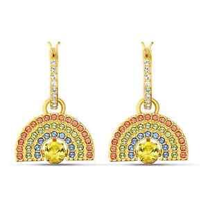 Swarovski Crystal Sparkling Dance Rainbow Pierced Earrings, Gold-Tone 5537494
