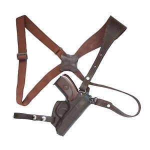 Shoulder holster for Makarov, Walther PP, vertical, Brown leather