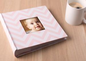 Pearhead Chevron Photo and Scrapbook Album Pink White