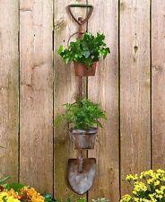 Rustic Metal Shovel Garden Tool Hanging Planter 2 Flower Pots Outdoor Wall Fence