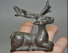 Old Chinese Bronze Copper Fengshui wild Animal Deer Sika deer Figurines Statue