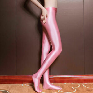 Ladies Wet Look Satin Shiny Tights Skinny Stockings Zipper Open Crotch Pantyhose