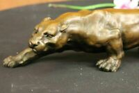 Rare Jaguar Panther Leopard Cougar Big Cat Car Collector Bronze Marble Statue NR