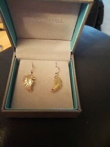 Dower & Hall Yellow Gold Vermeil Large Feather Drop Earrings
