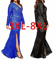 Women Sexy Lace Oversize Long Sleeves Long Party Evening Gown Dress Plus Size
