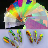 16Pcs Tips Nail Art Sticker Holographic Foils Adhesive Decal Stickers Holo Laser