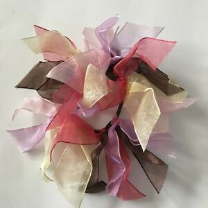 Gymboree Glamour Safari Hair Pony O Ponytail Sheer Ribbon Accessory Purple Brown