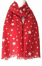 Red Star Scarf White Stars Cotton Wrap Ladies Fair Trade Shawl New