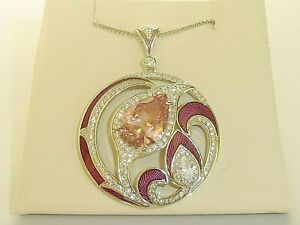 Ladies Flower Design 925 Sterling Silver Pink and White Sapphire Enamel Necklace