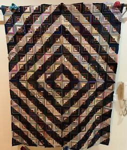 C19th Antique Welsh Durham Hand Stitched Quilt Textile Vintage Patchwork