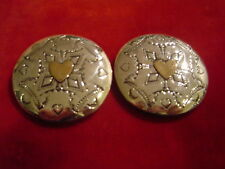 """Conchos: Pr. 2"""" Sterling Hand Tooled w/ sm Brass Heart overlay"""