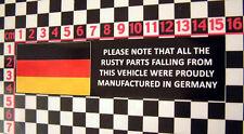 Comedy Rusty Parts Glass Sticker - BMW Porsche Audi Isetta 1602 2002 911