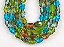 Mix Oval Faceted Olive Aqua Topaz Czech Fire Polished Glass Beads 50pcs 5x7mm