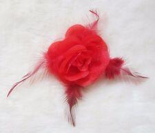 Wedding Bridal Bridesmaids Rose Flower Feather Fascinator Hair Head Clip Brooch