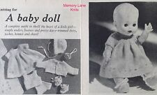 """Baby Doll Layette Clothes Vintage Knitting PATTERN 10.5"""" Shawl Dress Undies...PP"""
