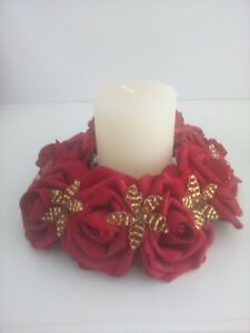 Red  rose flower & gold bead candle ring Wedding / Christmas Centrepiece
