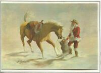 VINTAGE CHRISTMAS SANTA CLAUS YELLOW PALOMINO HORSE HILDRED GOODWINE ART CARD
