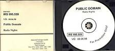 Public Domain-Radio Nights (13 TRACK PROMO-CD) 1986 LIKE NEW