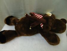 """Charter Club 24"""" Christmas Moose Plush Brown with Striped Scarf & Bells #1721"""
