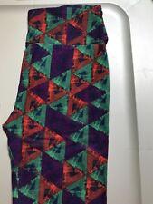 LuLaRoe OS Leggings.  Geometric Green,purple & rust.