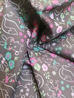 Grey FOX & BUNNY RABBIT Print Fabric Material COTTON Crafts Quilting Sewing 1M