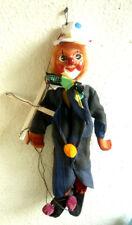 einzigartige alte Marionette Holz Holzpuppe Puppe Clown H - 40cm Handarbeit