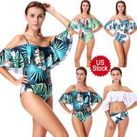 Women's Off Shoulder Bikini Floral Grass Pattern Swimwear One Piece Bathing Suit