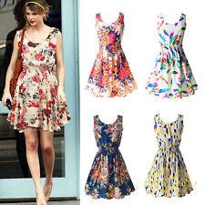 Women Sleeveless Beach Party Cocktail Sundress Summer Chiffon Floral Mini Dress