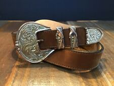 Vintage Streets Ahead Brown leather silver lace look buckle belt Sz L