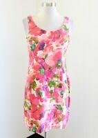 Postmark Anthropologie Blushing Olena Floral Linen Dress Sz 00 Spring Pink Green