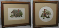 Counted Cross Stitch Rustic Country Views Frame Mat Glass Set of 2 Hand Stitched
