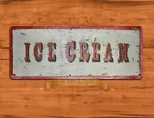 "Tin Sign ""Ice Cream"" Dessert Kitchen Rustic Wood Wall Decor"