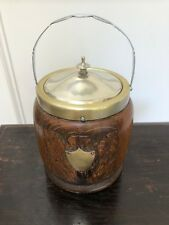 ANTIQUE OAK & SILVER BISCUIT BARREL HAND CARVED OAK LEAFS DECORATION W SHIELD