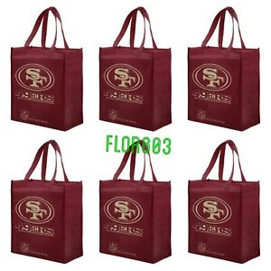 San Francisco 49ers NFL Reusable Shopping/ Grocery bag 6 Pcs