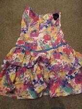 NEW UK 10 River Island Dress Multi Coloured Paint Splatter 3D Sequin Flowers Bon