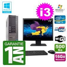 """PC Dell 790 SFF Intel I3-2120 RAM 16Go Disque 500Go DVD Wifi W7 Ecran 19"""""""