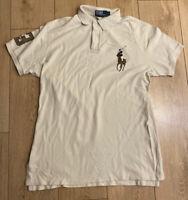 POLO Ralph Lauren Men's Polo T Shirt White Large 100% Cotton Short Sleeve Custom
