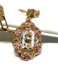 """Virgen De Guadalupe Medalla Pendant Necklace 26"""" Flores Cadena Oro Laminado"""