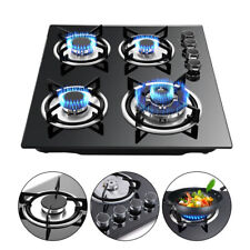 "LPG/NG Gas Cooktop 23.3"" 4 Burners Built-in Stove Tempered glass Surface Cooker"