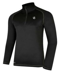 Mens Dare2b Fuse Up Half Zip Core Stretch Long Sleeve Fleece Top Black