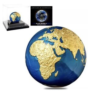 2021 Barbados 3 oz Silver Gold Plating Blue Marble Planet Earth Spherical BOXCOA