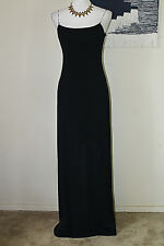LAUNDRY BY SHELLI SEGAL 6 Black Chain/Beaded Spaghetti Strap Low Back Dress Gown