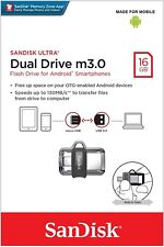SanDisk 16GB OTG Dual Ultra USB 3.0 to m3.0 Micro Flash Drive For Android SDDD3
