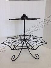 Grandinroad Halloween metal Spider Web Cupcake Dessert Food Stand 2 Tier Party