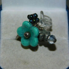 Turquoise Blue Flower Glass Bead Charm Adjustable Silver tone Ring 1k 4