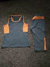 Women's Grey/ Orange Gym Kit Outfit Top & 3/4 Leggings Set Size UK Small