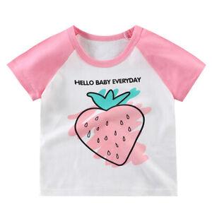 Kinder Mädchen Erdbeerdruck Kurzarm T-Shirt Sommer Urlaub Beiläufig Baby Top Neu