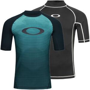 Oakley Reflector Rashguard Herren Schwimmsport Bademode Shirt blau schwarz neu