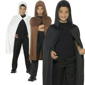 Kids Hooded Cape Black White Brown Boys Girls Halloween Fancy Dress Outfit New
